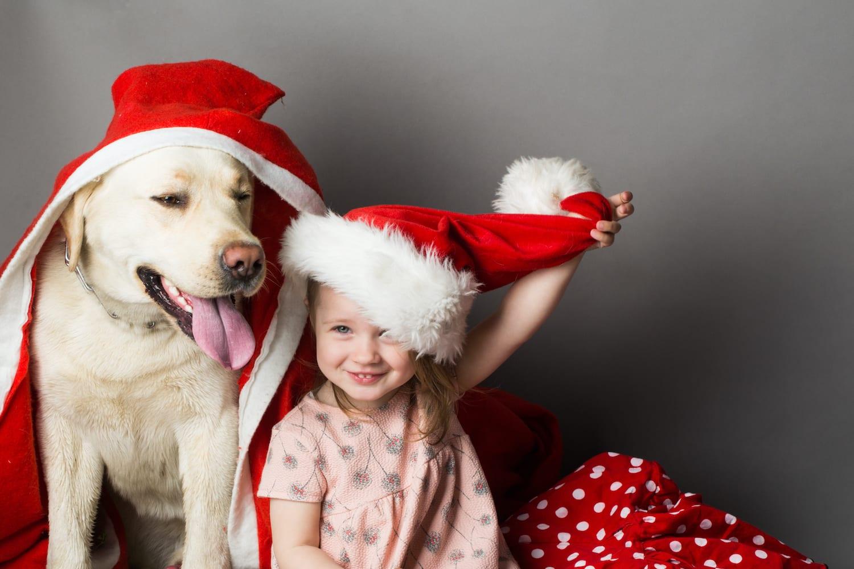 Smiling-Girl-at-Christmas-With-Her-Dog-Labrador-Retriever